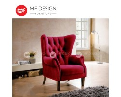 MF DESIGN  Sambia Wing Chair Arm Chair (Classic Design) [High Quality Soft Velvet Fabric]